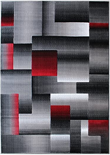 Rugs 4 Less Collection Abstract Contemporary Modern Area Rug, Red Grey Black Design R4L 861 5 X7