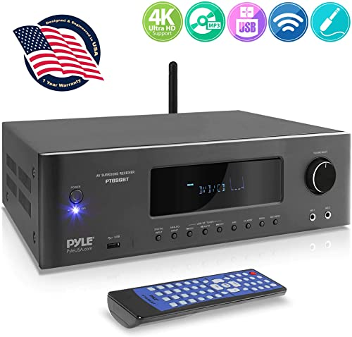 1000W Bluetooth Home Theater Receiver – 5.2-Ch Surround Sound Stereo Amplifier System with 4K Ultra HD, 3D Video Blu-Ray Video Pass-Through Supports, MP3 USB AM FM Radio – Pyle PT696BT