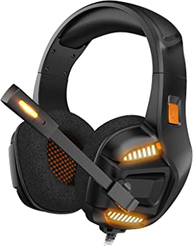 Gaming Headset Ergonomic Comfort-Fit Wired Headset RGB Dimming Soft Memory Protein Earmuffs for PC Cell Phones TV,Black