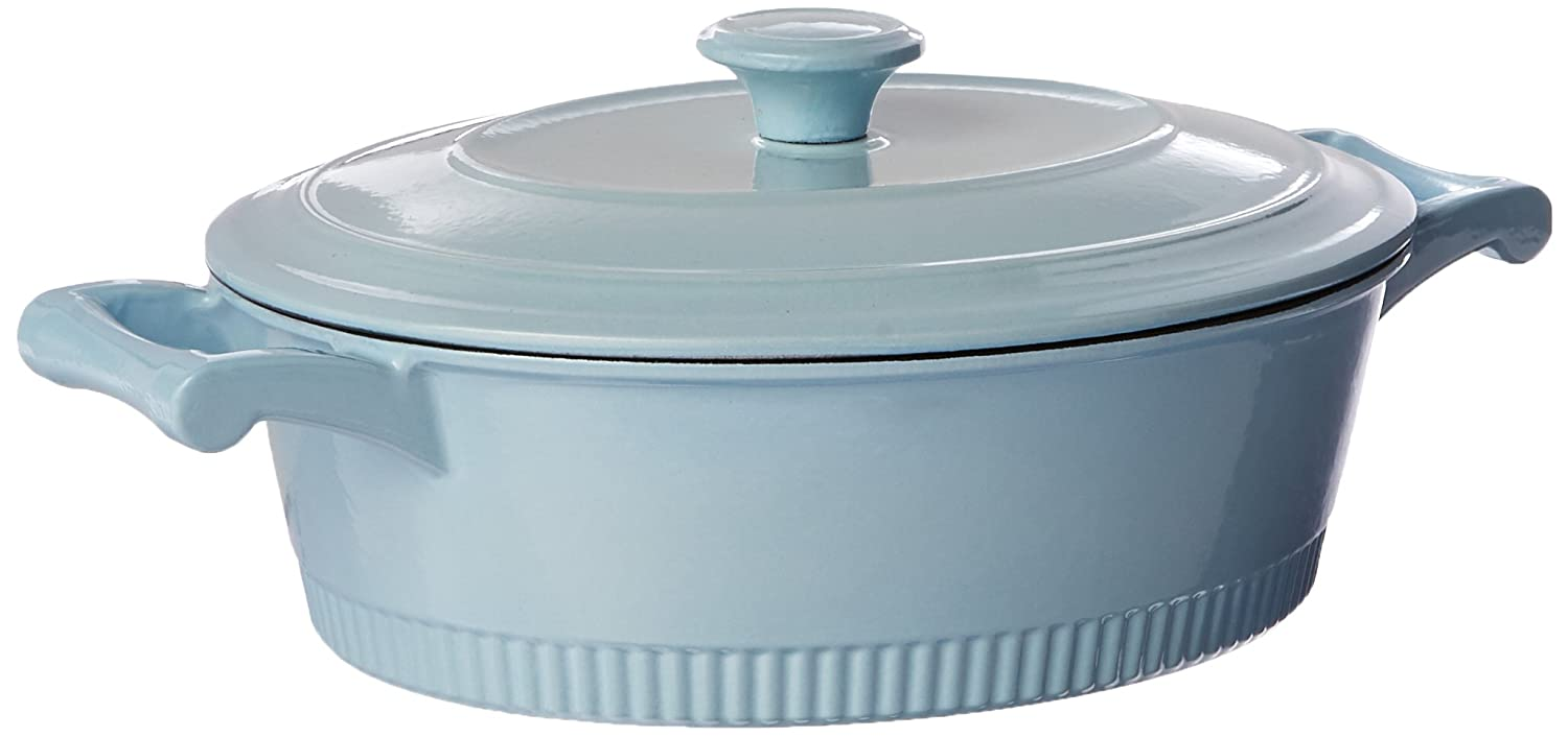 KitchenAid KCTI40CRGB Traditional Cast Iron Casserole Cookware, 4 quart - Glacier Blue