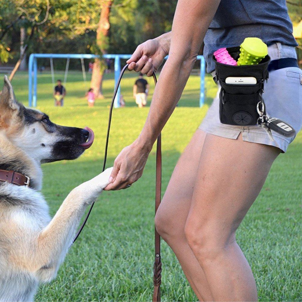 Mengshou Dog Treat Training Pouch Easily Carries Pet Toys, Keys, Treats,Kibbles,Built-In Poop Bag Dispenser,3 Ways To Wear Adjustable Shoulder Belt (Black) by Mengshou (Image #5)