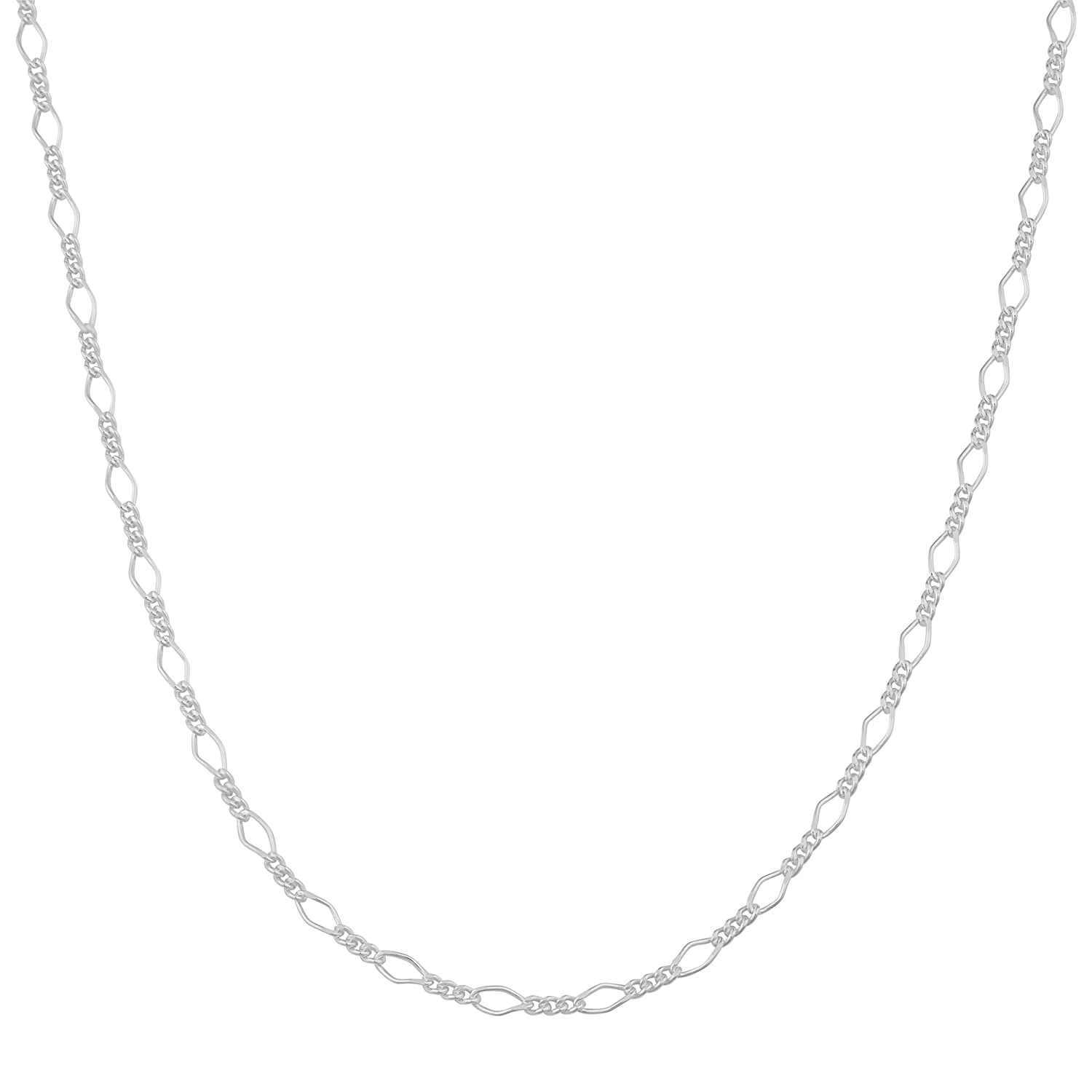 16, 18, 20, 22, 24, 30, or 36 inch Kooljewelry Sterling Silver 2.1 mm Polish Figaro Chain Necklace