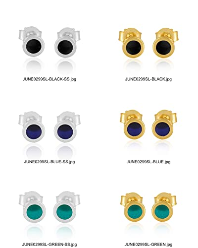 262018a1a Image Unavailable. Image not available for. Color: Simple Genuine 925  Sterling Silver Gold Plated Stud Earrings for Girls Multi ...