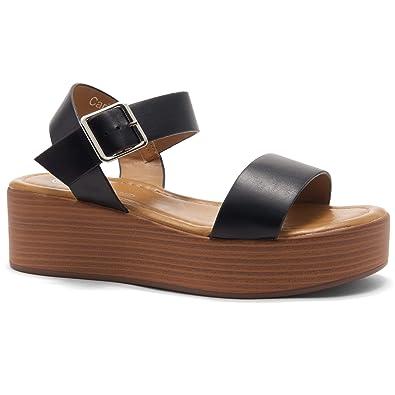 27f7b62cd386 Herstyle Carita Women s Open Toe Ankle Strap Platform Wedge Sandals Black Wood  5.0