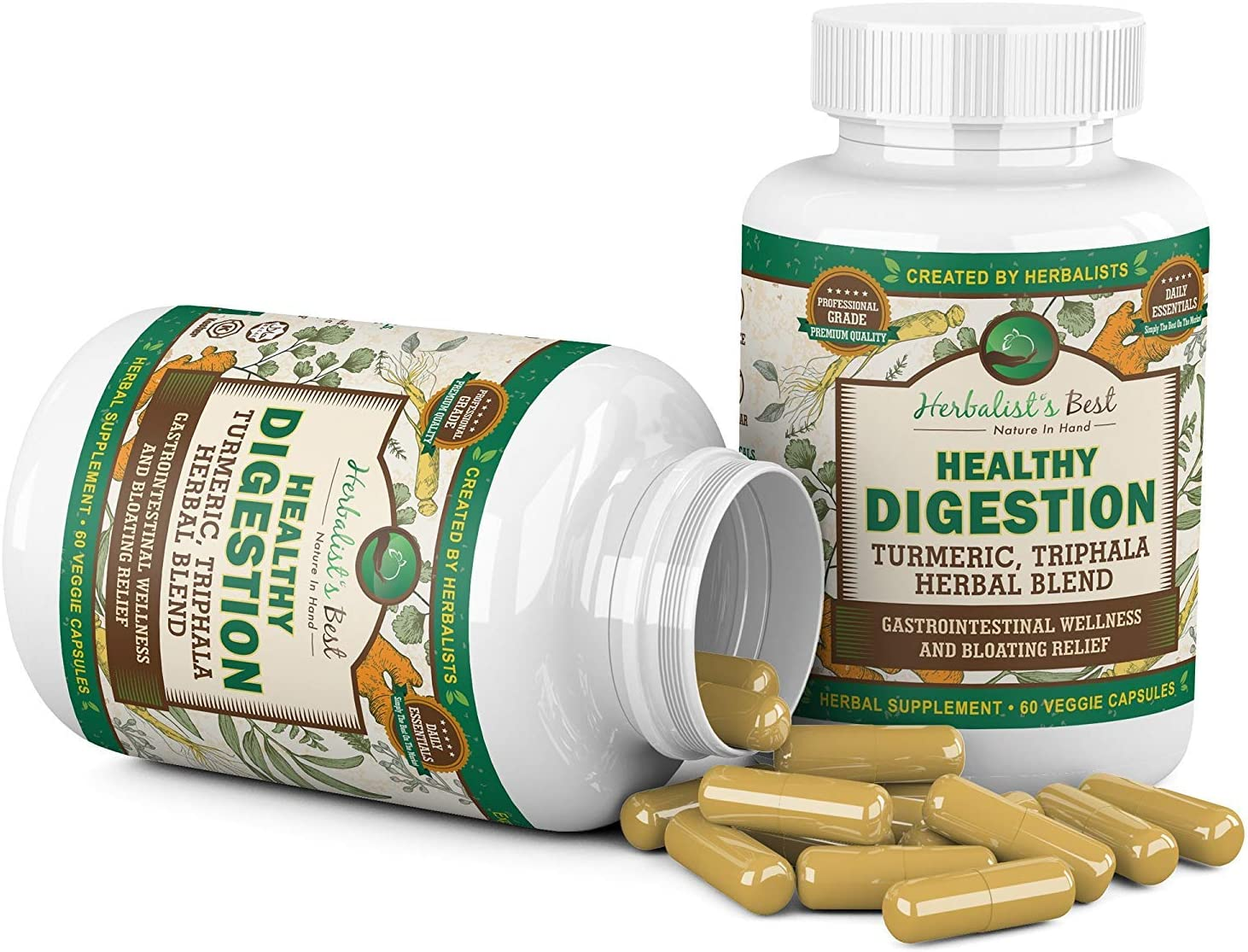 2 Bottles of Healthy Digestion Restores Gut Health I Turmeric Triphala Yellow Dock Aid Colon Cleanse Liver Detox Arthritis Bloating Gas I Probiotic Alternative I Boost GI Tract by Herbalist s Best