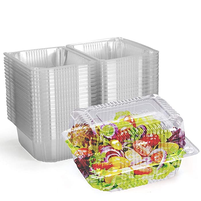 Disposable Plastic Hinged Food Container (80 Pieces), 6.3