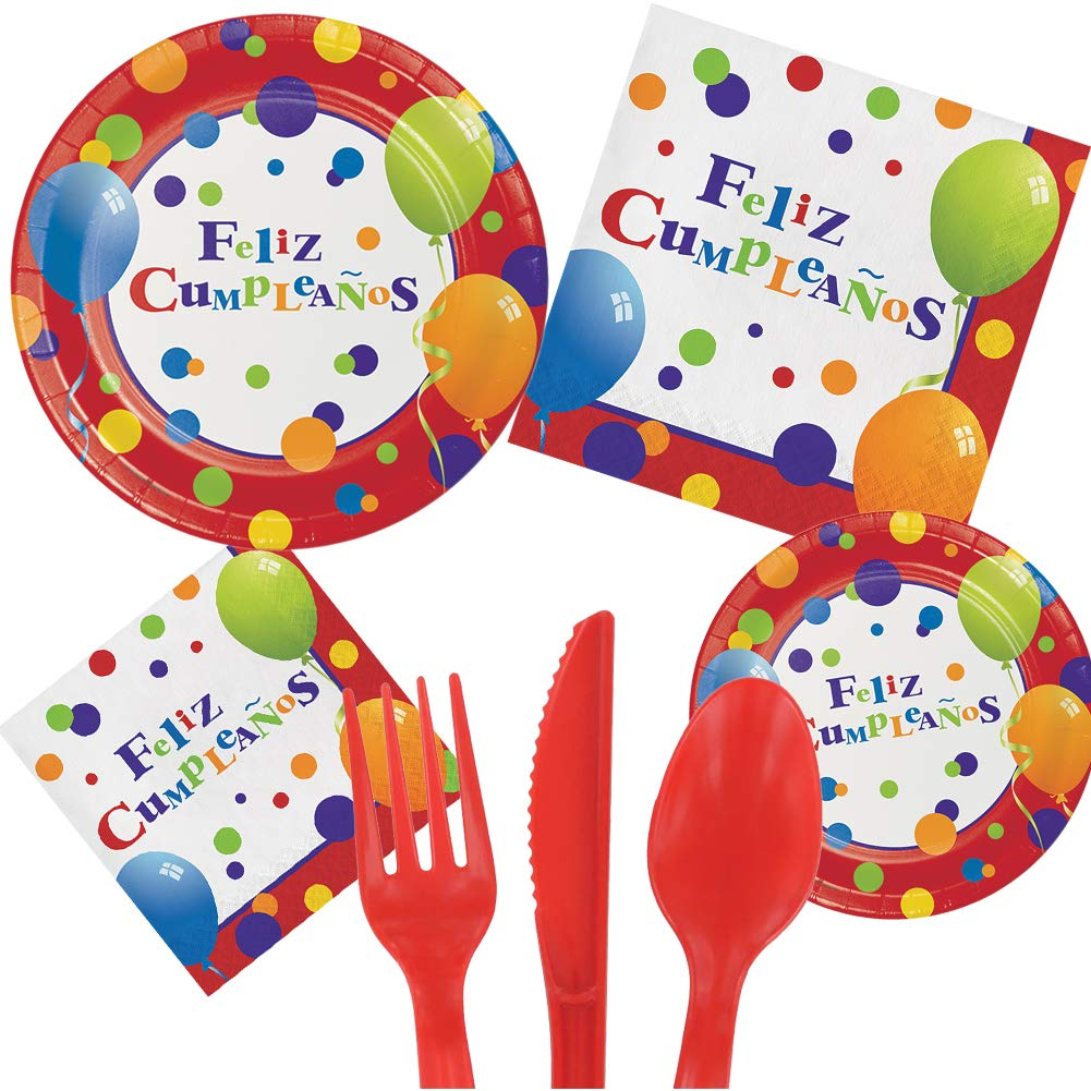 Spanish Feliz Cumpleanos Happy Birthday Party Pack Set Serves 16 Children Adults – Luncheon & Dessert Paper Plates, Napkins & Cutlery – Disposable ...