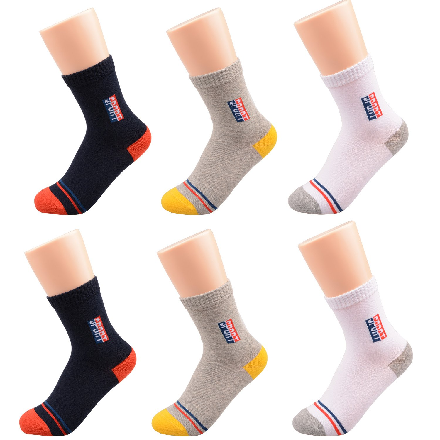 Tandi Kids Youth Boys and Girls Athletic Classics Crew Basic Socks Cotton Seamless for School Sports Running 6 or 5 Pair