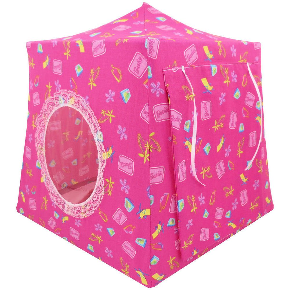 Toy Pop Up Play Fabric House, 2 Sleeping Bags, Pink with Barbie Beach Print Fabric