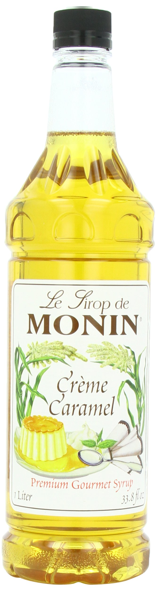 Monin Flavored Syrup, Creme Caramel, 33.8-Ounce Plastic Bottles (Pack of 4)