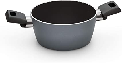 20cm Grey Pyrex Vivaro Induction Cookware Aluminium Non-Stick Casserole Pan with Glass Lid