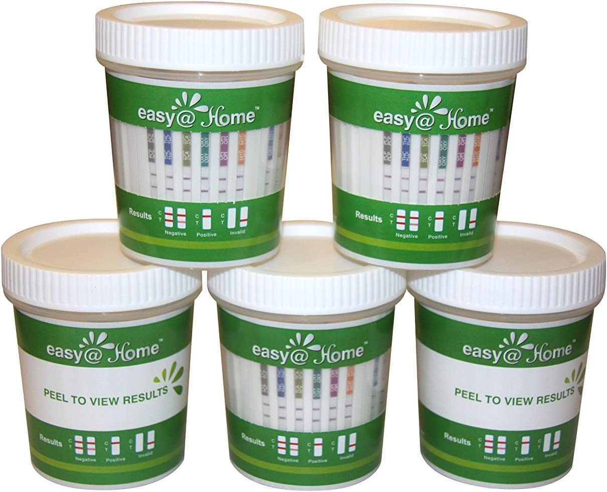 5 Pack Easy@Home 12 Panel Drug Test Cup Kit with Temperature Strip-Testing OPI2000, THC, COC, MET/mAMP, OXY, AMP, BAR, BZO, MTD, MDMA, PCP, TCA- Instant Urine Test-#ECDOA-7124