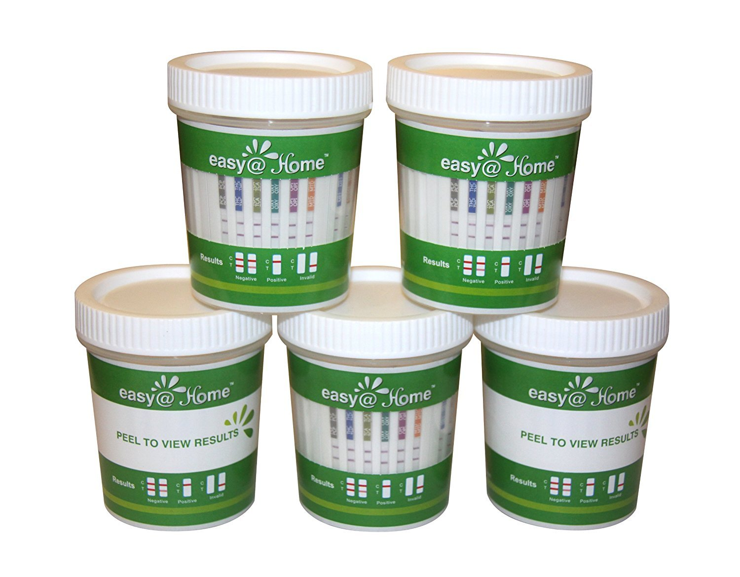 5, 10, 15, 25, 50 and 100 Pack Easy@Home Drug Test Cup for 5 Popular Drug Tests Marijuana (THC),Amphetamine (AMP),Cocaine (COC), Methamphetamine (MET), Opiate (OPI 2000) - #ECDOA-254