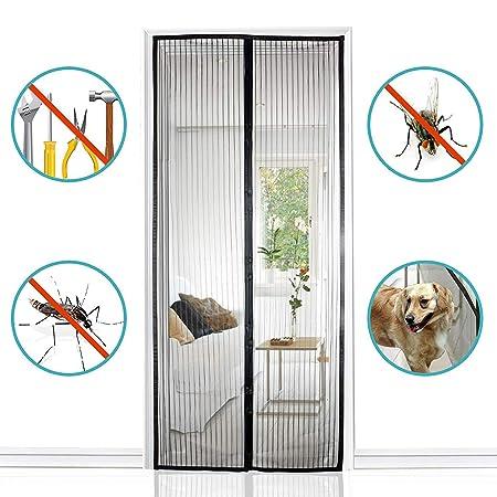 Bueno para Ni/ños y Perros Mosquitera Magn/ética para Puertas Protecci/ón contra Insectos Negro Mosquitera Puerta Magnetica 145x200cm F/ácil de Instalar
