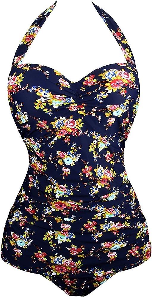 c055ed1f821f33 Angerella Vintage One Piece Monokinis Women Sexy Swimwear Suits ,Navy(floral),US