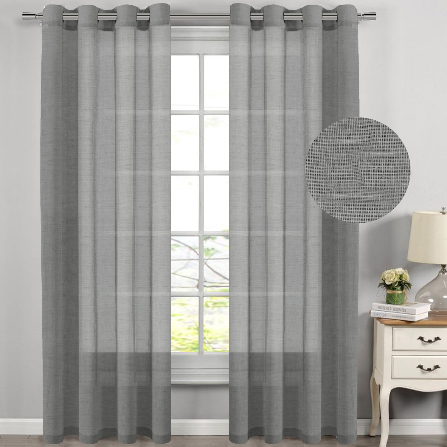 Window Curtain Panel Pair 52 by 84 Long, (2 Panels) Nickel Grommet Top Highly Durable Natural Linen Poly Blend Soft Sheer Curtains for Living Room - White H.Versailtex
