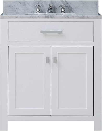 Water Creation Madison 30W 30 Solid White Single Sink Bathroom Vanity From The Madison Collection Pure White