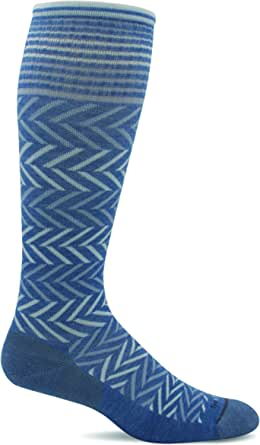 Sockwell Women's Chevron Moderate Graduated Compression Sock, Bluestone - S/M