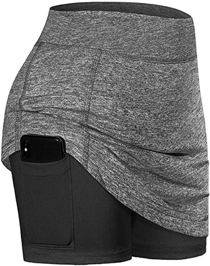 Damen Sport Skort Hosenrock mit Innenhose
