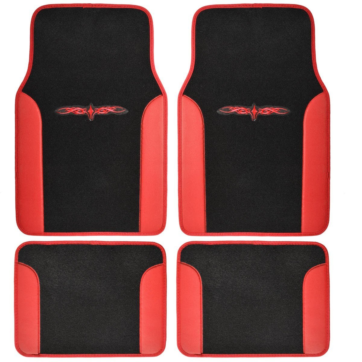 BDK MT-201-RD A Set of 4 Universal Fit Plush Carpet with Vinyl Trim Floor Mats For Cars / Trucks - Tattoo Red by BDK