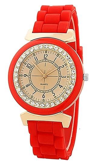 Reloj - Geneva Silicona Piedra de Cristal Cuarzo Reloj de pulsera de mujer (Rojo)