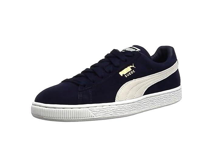 Puma Suede Schuhe Erwachsene Damen Herren blau (Peacoat) m weißem Streifen