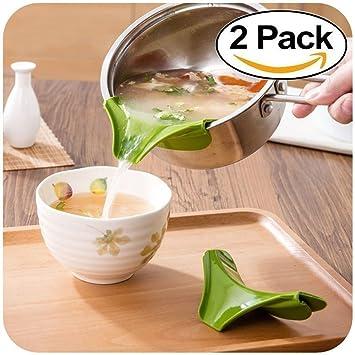 Generic silicona boquilla antigoteo para Slip On permite verter por cuencos sartenes ollas fácil verter apta para lavavajillas verde 2pcs: Amazon.es: Hogar
