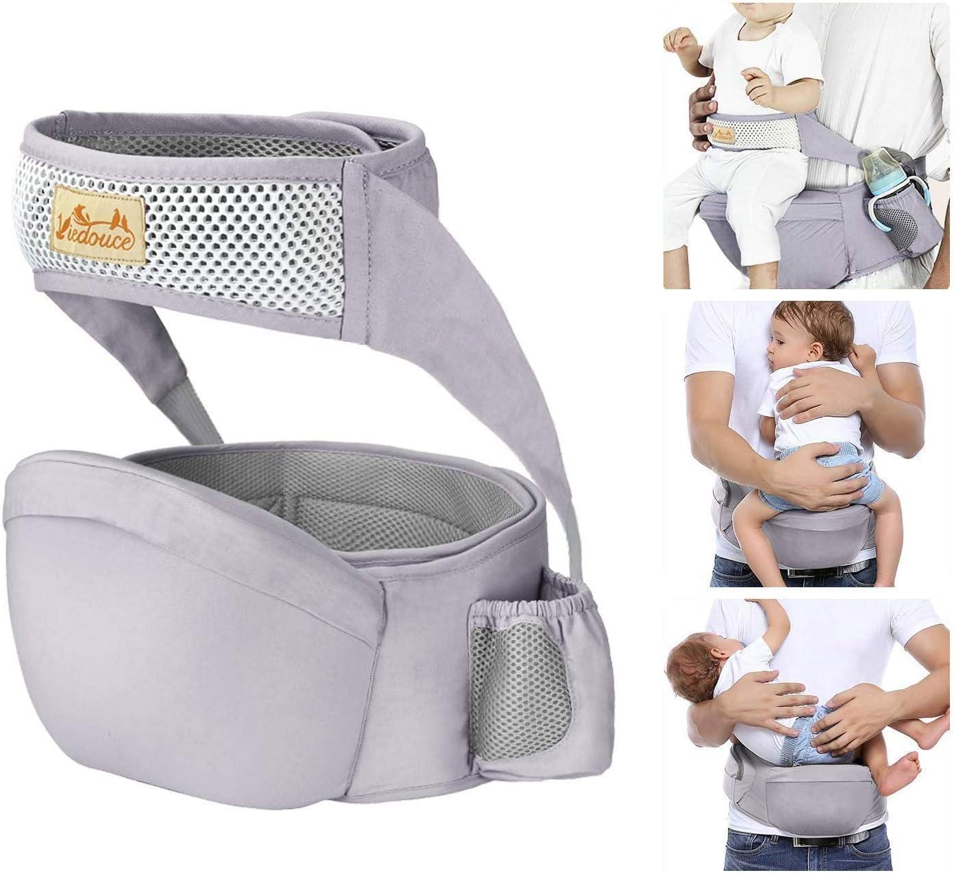 Viedouce Portabebé Ergonómico Asiento de Cadera,con Protección del Cinturón la Seguridad,Algodón Puro Ligero,Taburete de Cintura de Posición Múltiple por Bebé Niños 6-36 Meses(Gris)