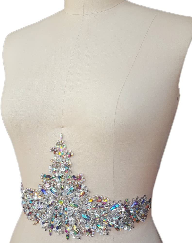 New Exquisite Pure Handmade AB Colour Bright Crystal Patches Sew-on Rhinestones Applique with Stones Sequins Beads for Wedding Dress DIY Manual Accessories Belt Waist Decoration 18x38cm Black
