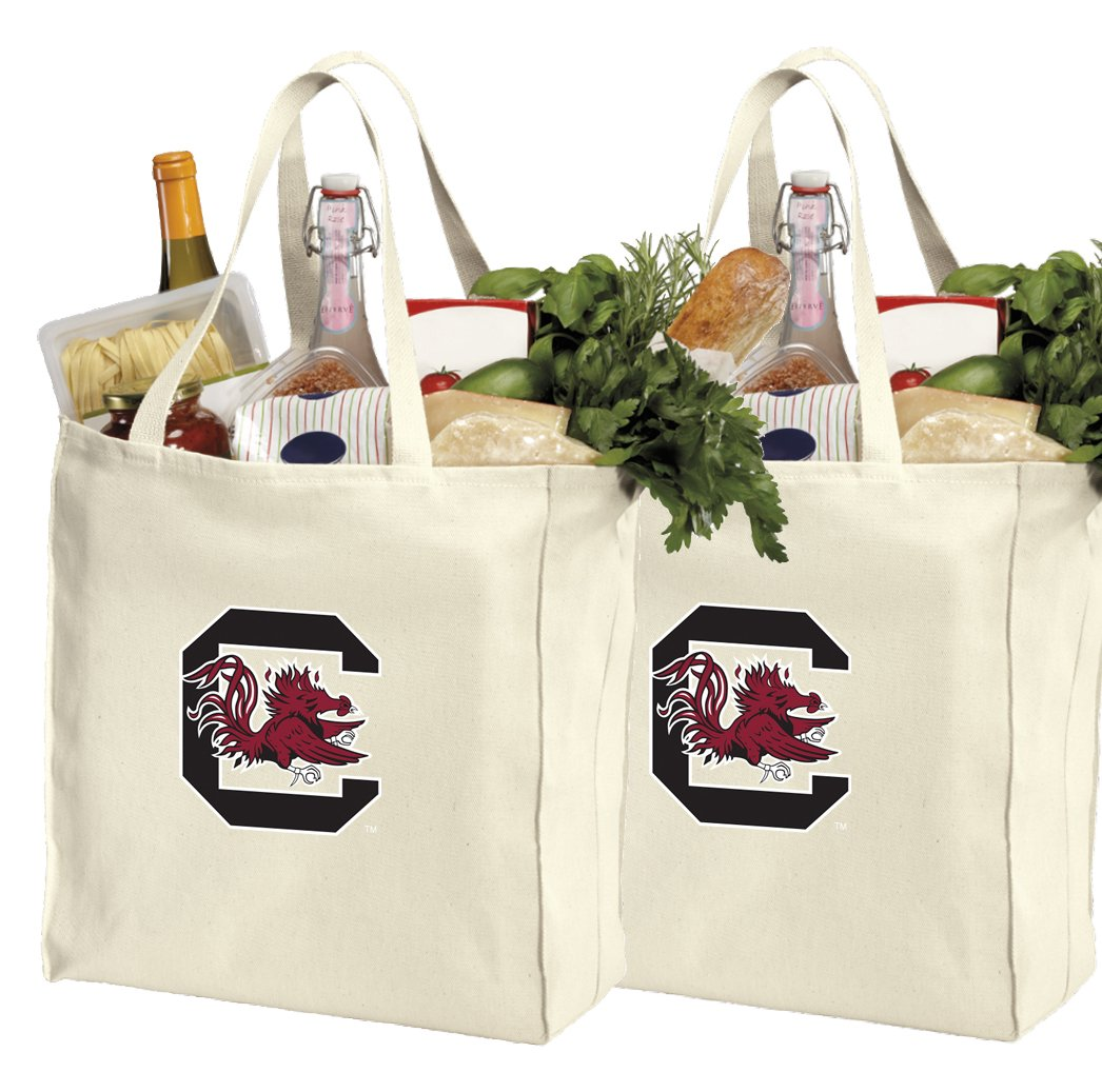 Reusable University of South Carolina Shopping Bags or South Carolina Gamecocks Grocery Bag 2Pc Set Natural Cotton