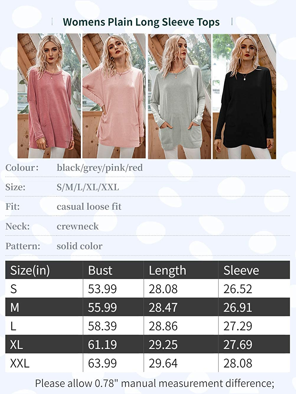 iChunhua Womens Casual Plain Long Sleeve Tops Round Neck T Shirt with Pockets