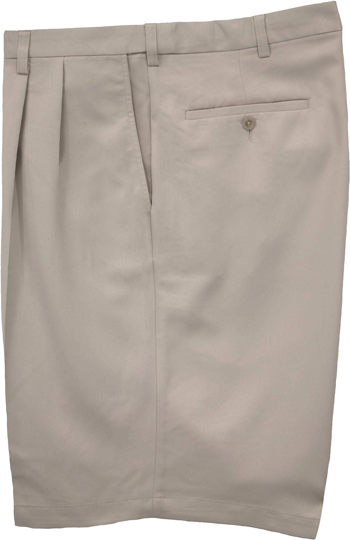 Haggar Big /& Tall Mens Pleated Casual Shorts Expandable Waist