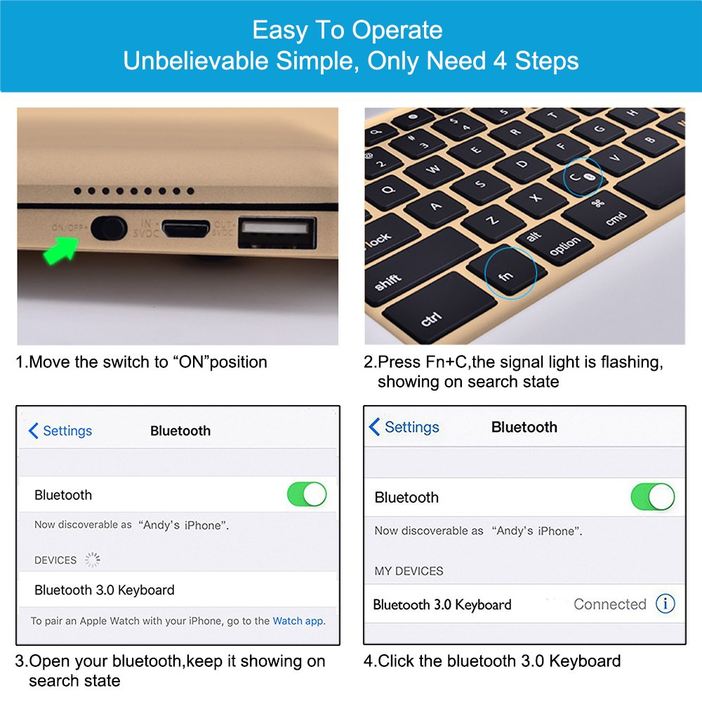 MOSTOP iPad Pro 12.9-inch Keyboard Bluetooth 7-color LED Backlit Slim Aluminum Wireless Keypad with Built-in 5600mAh Power Bank for iPad Pro 12.9'' (Gold) by MOSTOP (Image #6)