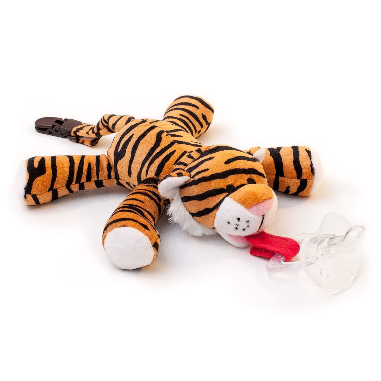 Chupete con tigre BabyHuggle - Chupeta con peluche para bebé, Juguete de felpa suave con chupón separable de silicona, Chupador con correa, cierre & ...