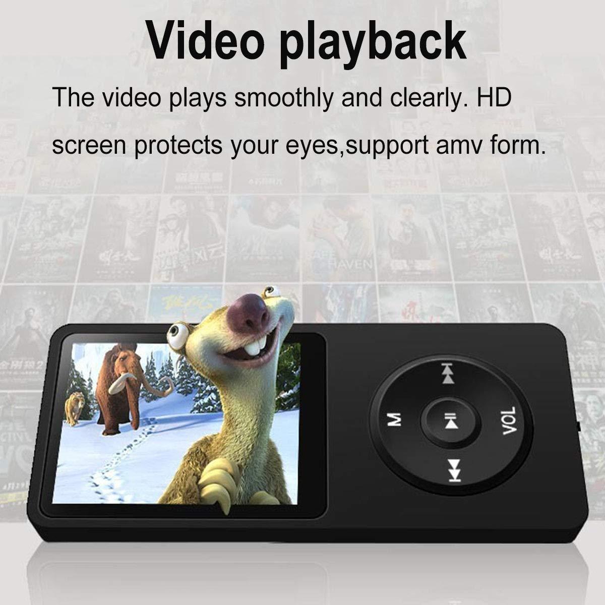 Registratore Vocale Lychee Lettore mp3 Portatile con Cuffie,8GB Lettore Musicale MP3 MP4 Riproduzione HiFi Lossless Sound,1,8 Pollici con Radio FM Supporta Fino a 64 GB