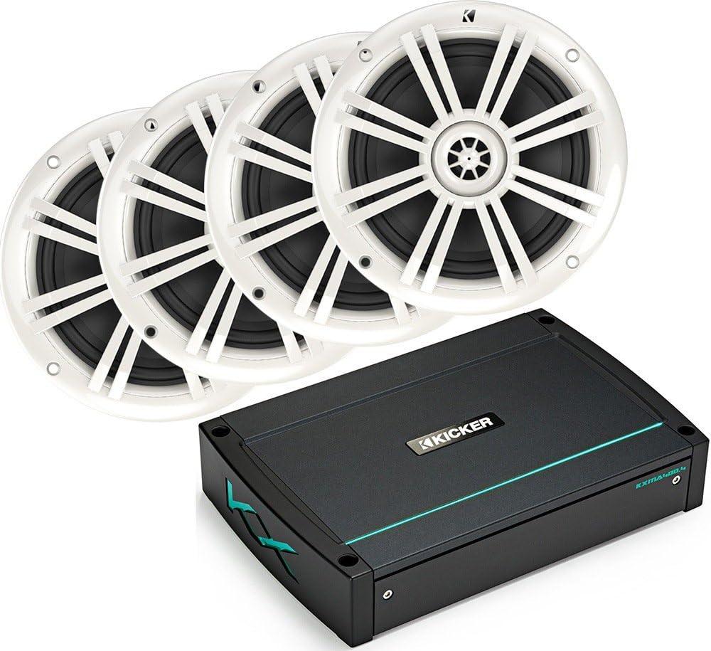 2 Pairs KICKER Bundle of 5 Items 44KXMA400.4 4-Channel KXM Series Marine Amplifier with 41BKM604B 6-1//2 KM Series 2-Way Speakers Black