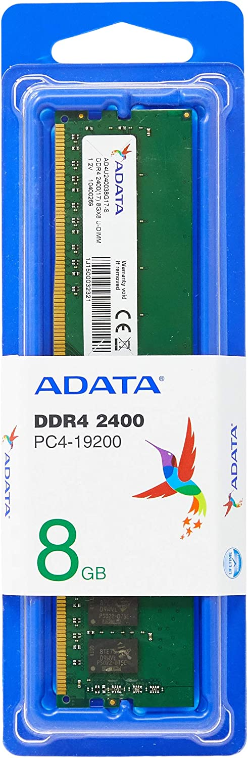 ADATA Premier Series 8GB DDR4 PC4-19200, 2400MHz 288 PIN DIMM, CL 15, 1.2v ram memory upgrade AD4U240038G17S