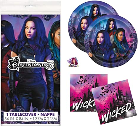 Descendants 3 Theme Birthday Party Supplies Set - Serves 16 - Tablecover, Plates, Napkins and Sticker - Mal, Uma and Audrey