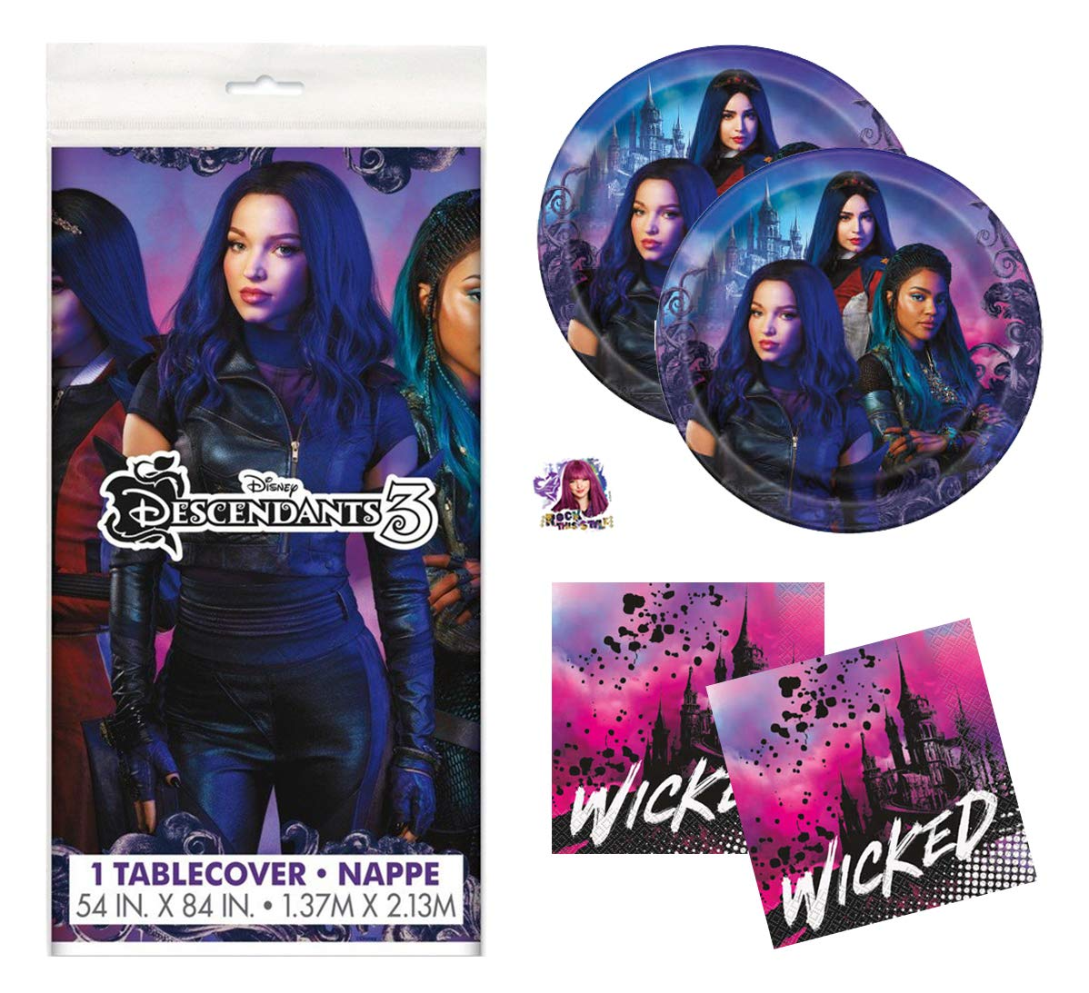Descendants 3 Theme Birthday Party Supplies Set - Serves 16 - Tablecover, Plates, Napkins and Sticker - Mal, Uma and Audrey by Descendants 3
