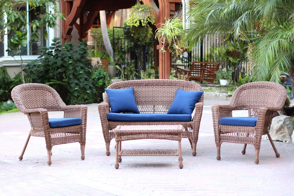 Jeco 4 Piece Wicker Conversation Set with with Navy Blue Cushions, Honey by Jeco