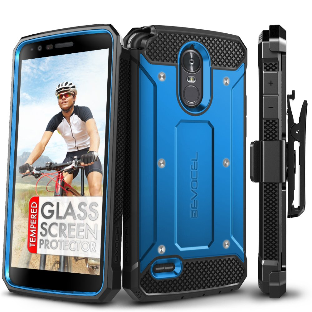LG Stylo 3 Case, Evocel [Explorer Series] with Free [LG Stylo 3 Glass Screen Protector][Full Screen Coverage] Premium Full Body Case [Slim Profile][Belt Clip] for LG G Stylo 3 (2017 Release), Blue