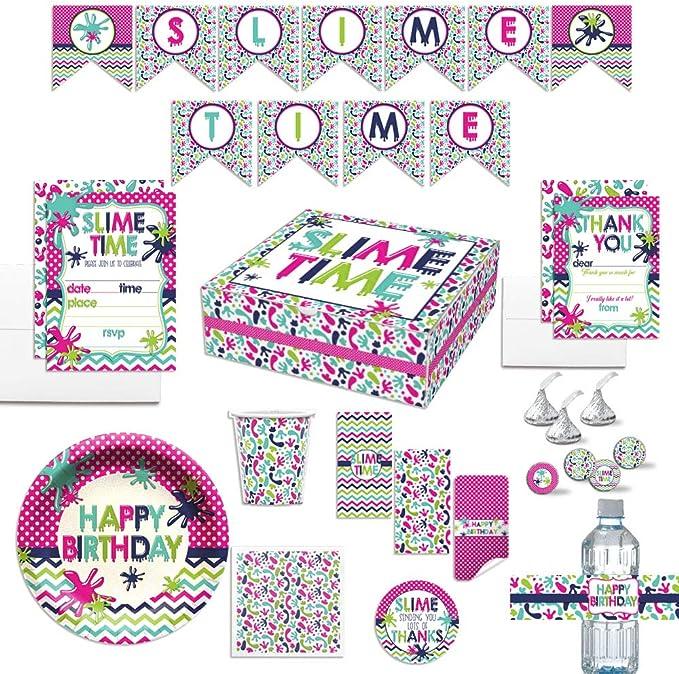 Ultimate Slime Fiesta de cumpleaños en una caja para niñas, juego completo de decoración de fiesta para 20 invitados. Incluye invitaciones, tarjetas de agradecimiento, pegatinas y mucho más. Más de 400 piezas