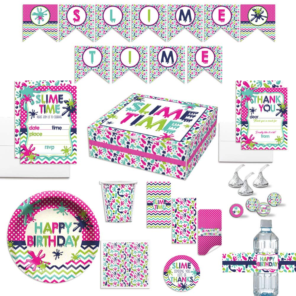 Premium Slime Birthday Party in a Box for Girls, Complete Party Decoration Set for 10 Guests. Includes Invitations, Thank You Cards, Stickers and More. Over 350 Pieces by AmandaCreation