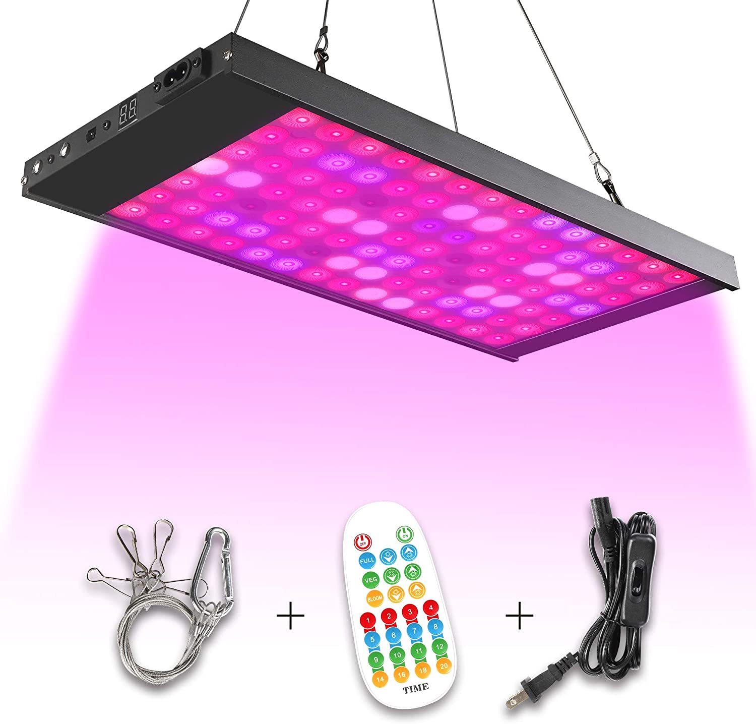 Led Grow Light,300W 98 Led Full Spectrum Growing Lamp Light Bulbs with Timer and Remote for Indoor Plants Seedling Greenhouse Hydroponic Plants, Multiple Panels Connectable