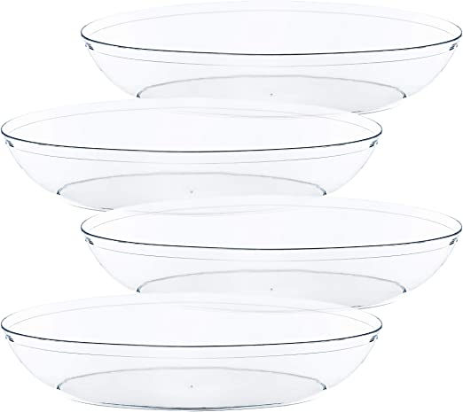 16 OUNCE, White Plasticpro Disposable Square Serving Bowls Party Snack or Salad Bowl Plastic Clear or White Pack of 4