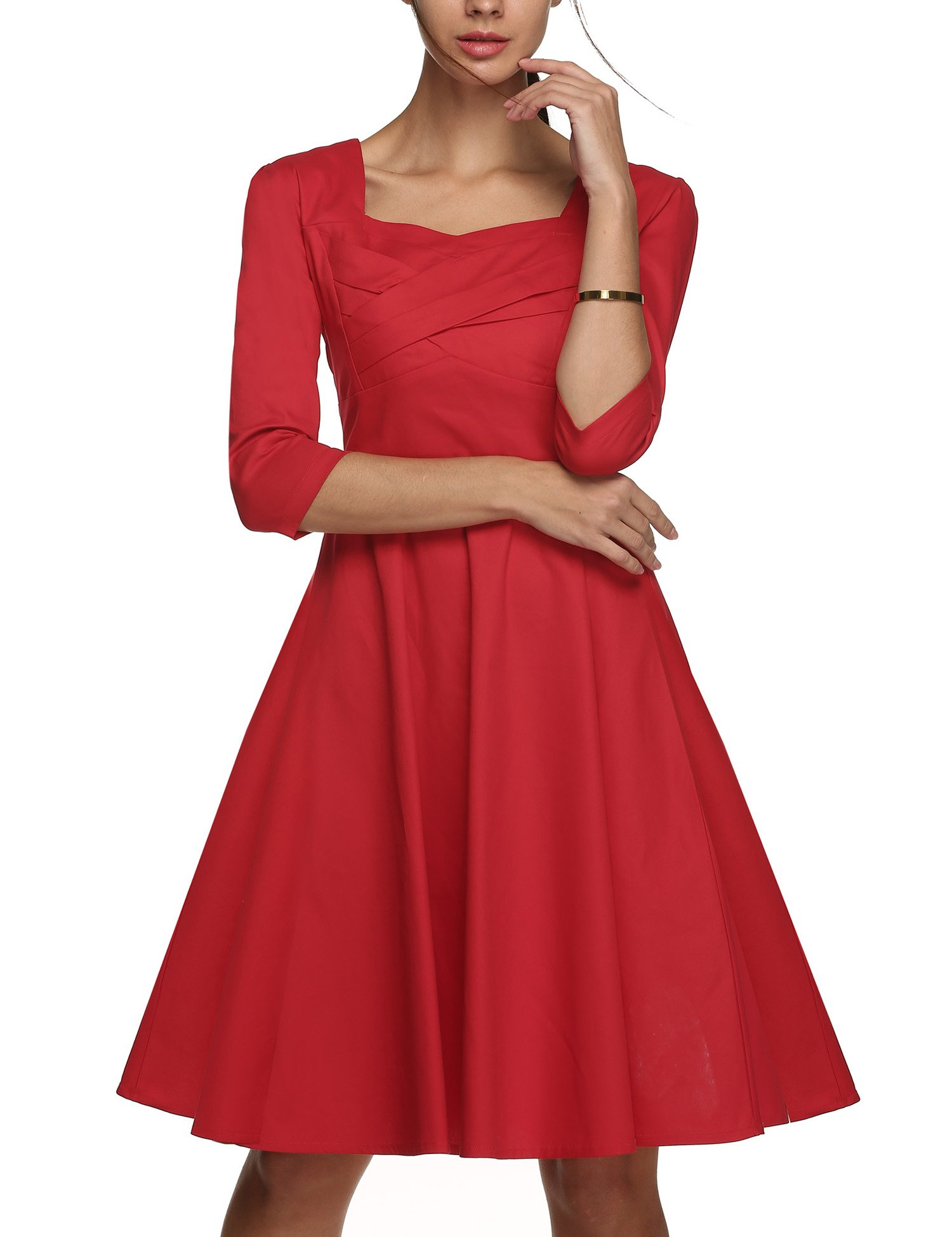 Up Beauty UpBeauty Women's 50's Vintage 3 4 Sleeve Cocktail Prom Party Swing Dress,Red,X-Large