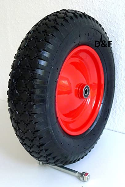 Rueda de carretilla (luftbereift 4.80/4.00 - 8 de diámetro, incluye eje 380 mm - 92 mm de ancho - 200 kg: Amazon.es: Industria, empresas y ciencia