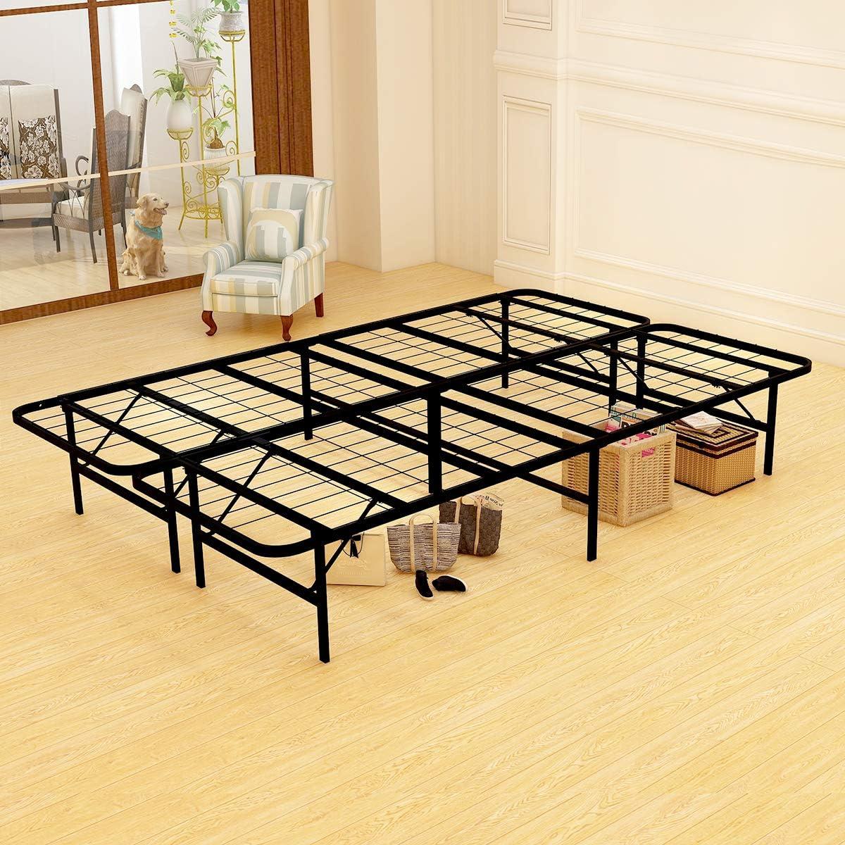 JURMERRY Platform Bed Frame, Metal Beds 14 Inch Box Spring Replacement Mattress Foundation Heavy Duty Steel Slat Black Full