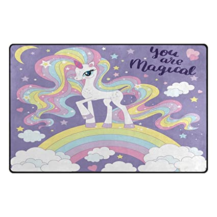 Wozo Unicorn Girl Pink Area Rug Rugs Non Slip Floor Mat Doormats