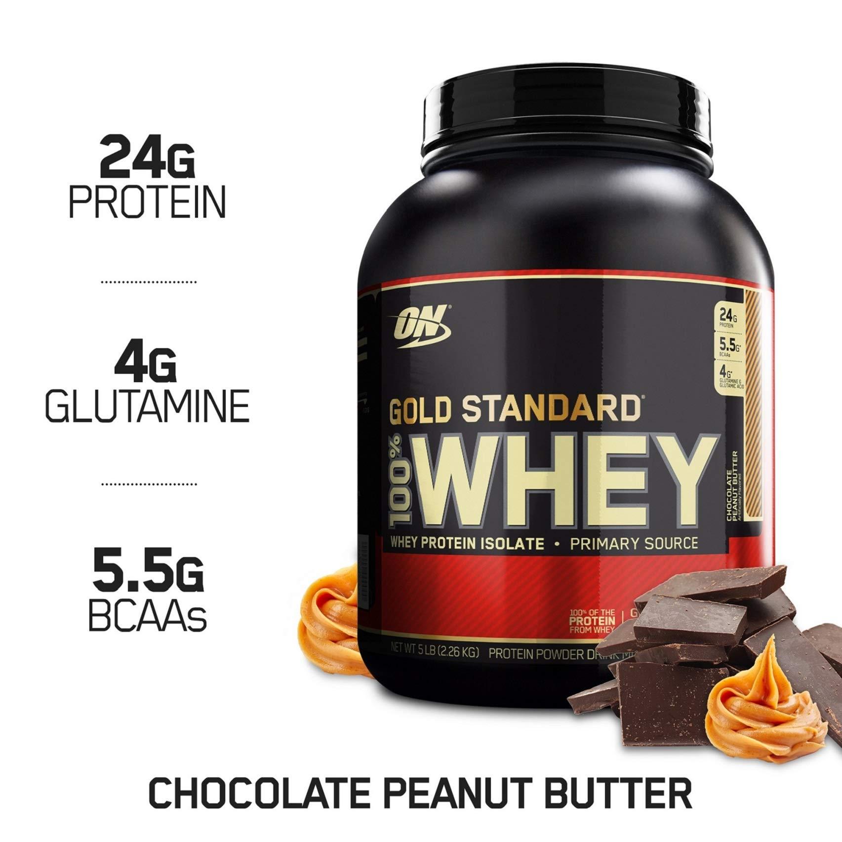 Optimum Nutrition Gold Standard 100% Whey Protein Powder, Chocolate Peanut Butter, 5 Pound by Optimum Nutrition